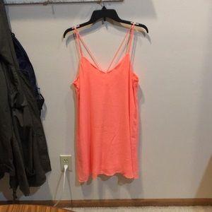 Coral silk dress